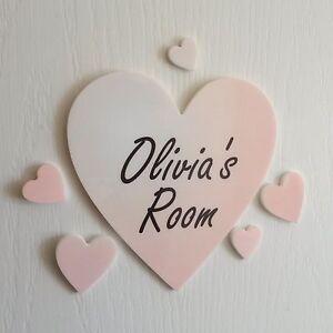 Personalised Colour Heart Door Name Plaque Boy or Girls Bedroom Room Sign