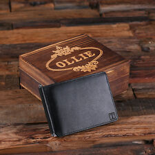 Personalized Monogrammed Leather Bifold Mens Travel Wallet Money Clip w/Wood Box