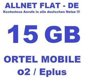 SIM-Karte Prepaid + 15GB Flat + Allnet Flat DE Ortel Mobile Allnet Flat L