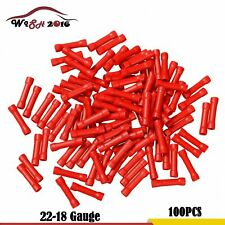 100X 22-18 Gauge Wire Butt Connectors Vinyl AWG Ga Car Radio Terminals Red