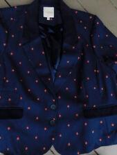 MODCLOTH navy dark BLUE coral red POLKA DOT BLAZER jacket poly wool coat XXL 4X