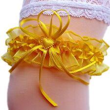 Braut Strumpfband wunderschön süß gelb sonnengelb Herzchen Schleifen Hochzeit