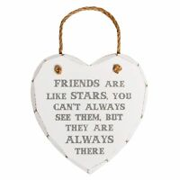 Friends Are Like Stars Heart Plaque Hanging Wall Sign Shabby Chic Decor Gift