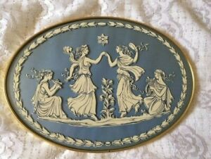 Vintage Wall Plaque Greek Dancing Maidens Transfer on Glass