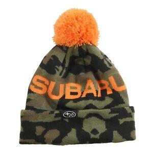 Genuine Subaru Logo Youth Camo Knit Beanie w/ Pom Cap Hat Forester Ascent Child