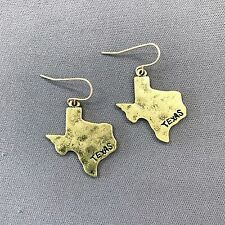 Bohemian Style Antique Gold Finish Hammered Texas State Dangle Style Earrings