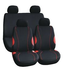 CLOTH MESH CAR SEAT COVERS BLACK + RED STITCHING JAPRED