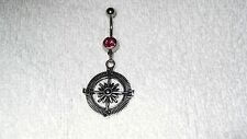 Compass Charm Belly Navel Ring Body Jewelry Piercing Pink CZ Bar NSEW