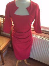 KALEIDOSCOPE. RASPBERRY RUCHED PENCIL DRESS SIZE 14
