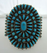 Native American Navajo Silver & Petit Point Turquoise Cuff Bracelet by G & A.B.