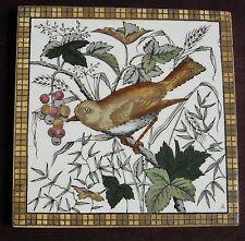 """Original Antique Victorian """"BIRD"""" Tile c1880"""