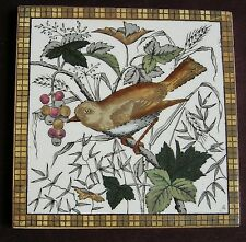 "Original Antique Victorian ""LITTLE BIRD"" Tile c1880"