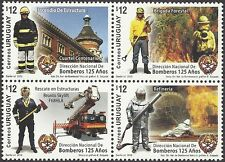 URUGUAY 2012 125th Anniv FIRE BRIGADE ENGINE FIRE FIGHTING Block of 4  MNH