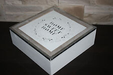 TEA Jewellery BOX  ''HOME sweet HOME'' STORAGE WOODEN VINTAGE CHIC STYLE