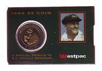 1996 Sir Donald Bradman Cricket Legend $5 UNC Coin in Westpac Bank Sleeve