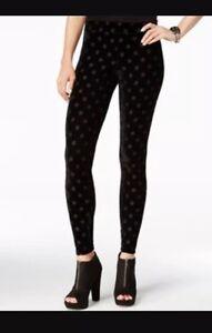 HUE Womens Burnout Dot Velvet Leggings Black U16827 Sz XL - NWT