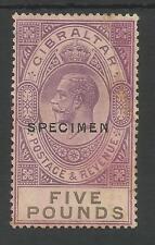 GIBRALTAR SG108s THE SCARCE 1925-32 GV SPECIMEN £5 VIOLET AND BLACK CAT £800
