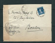 FRANCE circa early 20th century CENSOR cover to BOSTON USA
