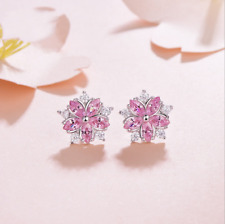 Delicate Women Marquise Cut Pink Sapphire Snow Stud Earrings Party Jewelry Gifts