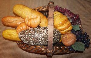 Fake Food Bread Basket Decorative Basket of artificial fresh baked breads