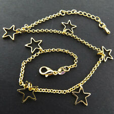 Anklet XL Bracelet Real 18K Yellow Gold GF Solid Star Charm Bead Link Design 10""