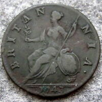 GREAT BRITAIN GEORGE II 1743 HALFPENNY, US COLONIAL COIN, COPPER