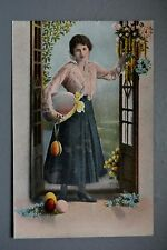 R&L Postcard: Attractive Easter Greetings, European Lady Basket of Eggs Repro?