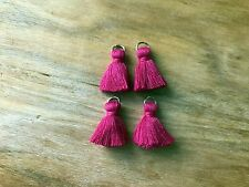 4 x Cotton Tassels 20mm 2cm Long - MAGENTA - great for earrings & accessories