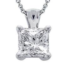 0.55 Ct. Tw Princess Cut Diamond Solitaire Pendant in 14 Kt White Gold