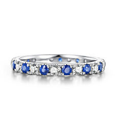 Engagement Band 1.6ct White Sapphires & Bule Sapphires Ring Sterling Silver 925