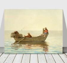"""WINSLOW HOMER - Three Boys in a Dory - CANVAS ART PRINT POSTER - Boat - 12x8"""""""