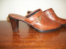 Etienne Aigner clog heels shoes brown leather buckle 6.5 Mules M