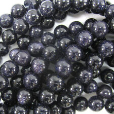 "Blue Goldstone Round Beads Gemstone 15"" Strand 4mm 6mm 8mm 10mm 12mm"