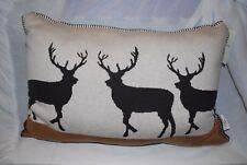 NEW Artisan de Luxe Woodland Deer Decorative Pillow Knit Christmas Lodge 16 x 24