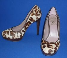 "GORGEOUS 36 6 VINCE CAMUTO LEOPARD SARIKA HAIR ON 4.5"" TALL LEATHER PUMPS WOMENS"