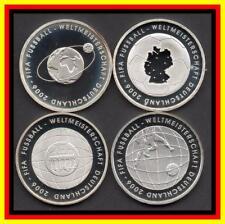 KOMPLETT ALLE 4 10 Euro Silbermünzen FUSSBALL-WM 2006 in DEUTSCHLAND PP SILBER
