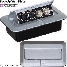 PRO Pop-Up Wall/Floor Plate & Back Box -2x BNC & Twin XLR Sockets- CCTV & Audio