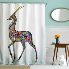 Waterproof Fabric Bath Shower Curtain Deer Print w/ Hooks Bathroom Decor 71x71in
