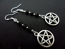 A PAIR DANGLY PENTANGLE PENTAGRAM EARRINGS WITH 925 SOLID SILVER HOOKS. NEW..