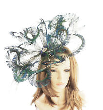 Peacock Green Fascinator  Hat for Weddings, Ascot ,Proms With Headband A12
