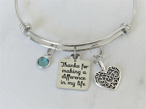 Thanks For Making a Difference In My Life Bracelet, Gift for Coach, Teacher