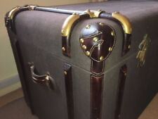 New Brown Storage Trunk Chest Box Hard Wood with Brass + Leather Fittings