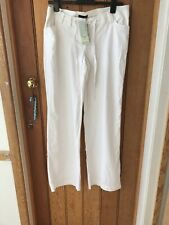 Next White Linen Underbump Maternity Trousers 10 Long Wide Bnwt