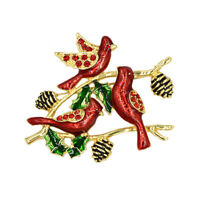 Charms Red Crystal Birds Enamel Brooches Gold Plated Retro Brooch Pin For Women