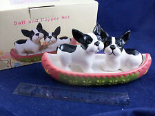 NIB Cracker Barrel Boston Terrier Pup Dog Pink Canoe Salt & Pepper Shakers CB05A