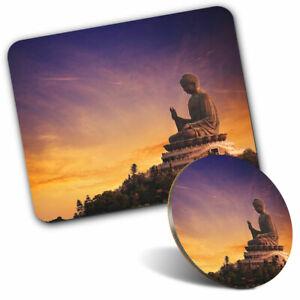 Mouse Mat & Coaster Set - Tian Tan Buddha Hong Kong  #12189