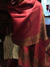 Vintage Style Knit Red Burgundy Reversible Pashmina Scarf Wrap Shawl