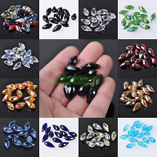 10/50PCS 8x16mm Mixed Glass Crystal Charms Teardrop Loose Spacer Beads Making