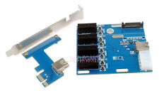 PCI-E 1X Expansion Kit 1 to 4 Ports Switch Multiplier Hub Riser Card + USB Cable
