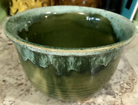 "Vintage Green Drip Glaze Footed Pottery Bowl/Pot - 5 3/4"" Wide X 3 1/2"" Tall"